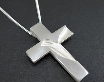 Mens Silver Cross, Holy Spirit Cross with 2mm Chain, Peace Dove Cross Necklace, Guy Crosses, Peace and Faith, from our Spiritus Collection
