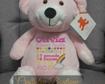 """Pink Bear , 16"""" Personalized Birth Announcement, Embroidered Animal, birth stats, Personalized Baby Shower Gift, New baby gift, Name"""
