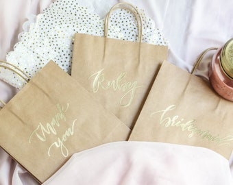 Gold Embossed Gift Bag / Hand Lettered Gift Bags / Gift Bags / Birthday Party Bag / Wedding Bag / Party Favor / Party Supplies / custom bag