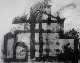 MILL WIND - Large Drawing - Graphite - Industrial - Yorkshire Drawing - Fine Art - ElizabethAFox