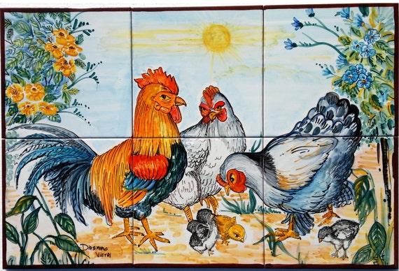 Ceramiche di vietri mosaico mattonelle gallo decorato a mano for Mattonelle mosaico cucina