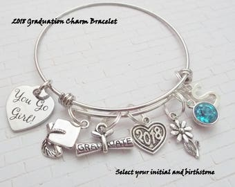 Graduation Gift, Gift for 2018 Graduate, Class of 2018 Charm Bracelet, Personalized Graduation Gift, Senior Class Gift, Personalized Gift