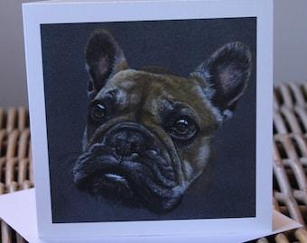 Blank card, birthday card, dog lover card, frenchie card, French bulldog card, artist card, art card, dog drawing, dog card, cute dog card