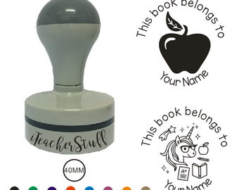 40MM Personalized teacher stamp,this book belongs to, This book belongs to stamp, teacher stamp, classroom stamp, teacher gifts