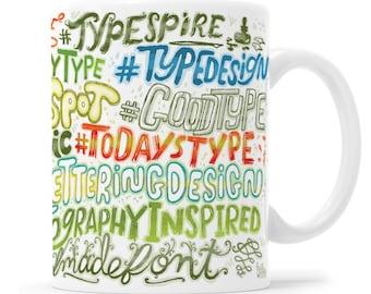 Typography Mug Instagram Mug Hashtag Mug Learn Lettering Lettering Gift Typography Gift Hand Letterer Instagram Lettering Hashtag