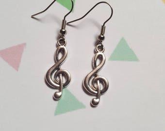 Musical notes earrings, Dangle earrings, Drop earrings, Musical notes, Sol key, Musical sol key, Music, Musician gift, Music lover gift