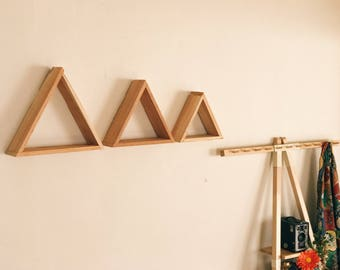 Set of 3 Different Size Triangle Shelves (Reclaimed Wood)