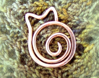 Copper Spiral Cat Shawl Pin