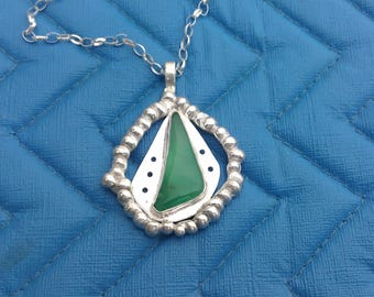 Sterling Silver Chyrsoprase Pendant Necklace
