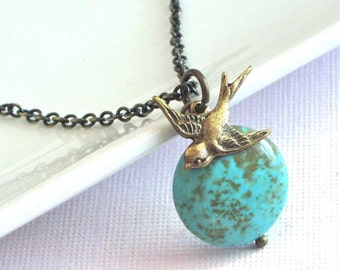 Turquoise Necklace - Bird Necklace, Brass