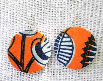 African Statement Earrings, Ankara Fabric Earrings, African Print Earrings, Ethnic Earrings, African Fabric Jewelry, Afro Punk Earrings