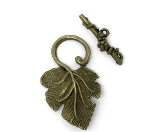 Set of 2.... Antique Brass Grapes Grapevine Vinyard Toggle Clasp...Connector...Necklace
