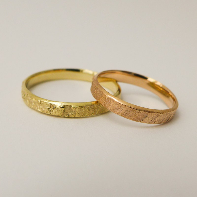 Rustic wedding rings set for men and women 14 karat solid