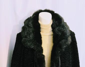 50% OFF Size S Faux Persian Lamb Jacket/Black Faux Fur Jacket/Dress Faux Fur Jacket/90's Winter Light Jacket/No.417
