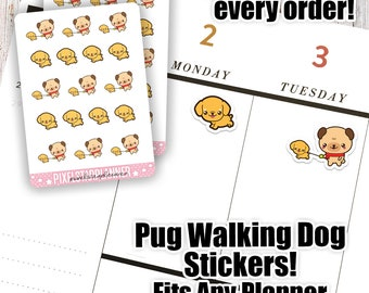 Pug Walking Dog Planner Stickers Cute Kawaii