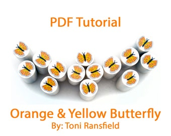 Polymer Clay Tutorial; Orange and Yellow Butterfly Tutorial, PDF Tutorial, Polymer Clay, Millefiori Cane, Learn How to Make a Butterfly