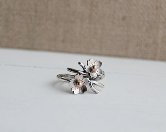 Cherry Blossom Twig Ring, Branch Adjustable Ring in Silver, Spring Stacking rings, Spring Jewelry, MADE to ORDER, Bridal accessories