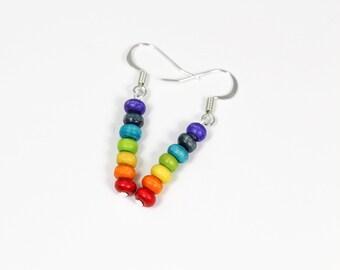 Chakra Earrings, Rainbow Earrings, Wood Earrings, Pride Earrings, Hippie Earrings, Yoga Earrings, Boho Earrings, Fun Earrings, 7 Chakra