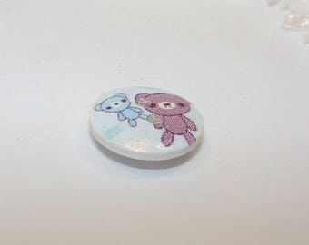 15 mm in diameter, Teddy bear pastel wooden button.
