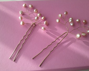 Hair pins wedding hair jewelry Freshwater Pearl rose