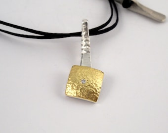 Gold and silver modern square pendant decorated with a small diamond and a textured surface, Hammered necklace, Handcrafted necklace.