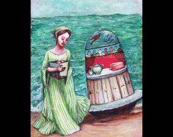 Harayadori, Japanese Folk Tale, Fairy Tale, Original Painting, UFO, Boat, Woman, Mystery, Box, Cake, Ocean, Surrealism, Sea, Story, History