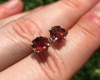 raw garnet earrings - raw garnet stud earrings - healing crystal earrings - energy jewelry - garnet jewelry - sterling silver earrings
