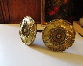 Vintage Acanthus Medallion Tiebacks, French, Gilded Brass Holdbacks, Drapery Hardware, Drape Tie Backs, Curtain Tiebacks, Drapery Tiebacks