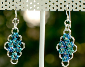 Sterling Silver Micro-Maille Earrings with Mermaid Blues and Greens Niobium Accents - Ready to Ship