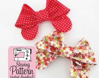Bows PDF Sewing Pattern | Sew medium size fabric bows to use for girlie bow ties, hair bows, or as embellishments for bags and accessories.