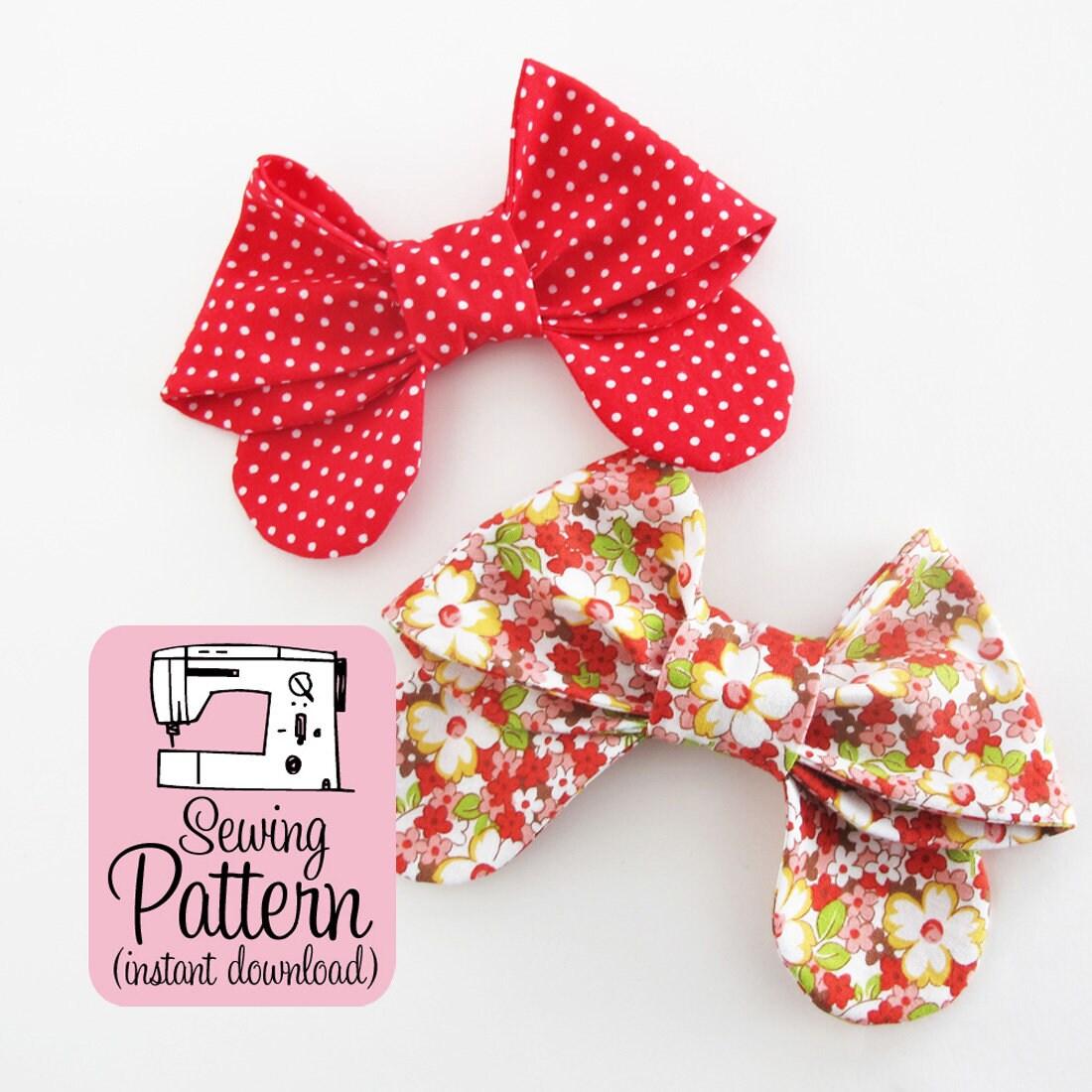 Bows pdf sewing pattern sew medium size fabric bows to use zoom jeuxipadfo Images
