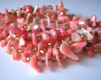 SALE Long vintage pink mother of pearl necklace