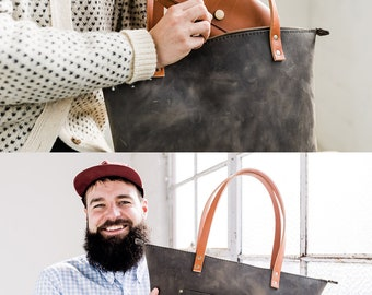 Leather Tote w/ZIPPER Huge SALE  - Leather Bag Handmade Portland, Full-Grain Cowhide- Award Winning Leather Tote Portland Leather Goods
