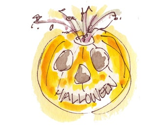 "HALLOWEEN PUMPKIN...Clipart / Digital Download / 300 dpi/ hi resolution of Original Watercolor . 8""x10"" Great for any application."