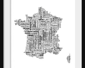 France Map Typography Map Poster Print Text Map