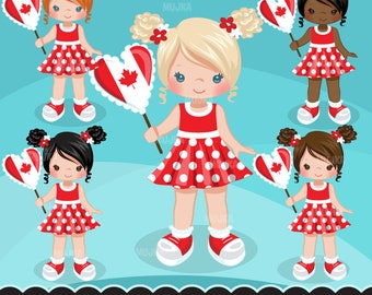 Canada Day Clipart. Independence Day Little Girl Graphics, planner stickers, embroidery, commercial use, chore chart, african american