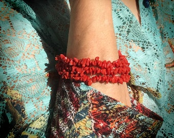 Red coral bracelet Corsica exceptional quality (bf116)