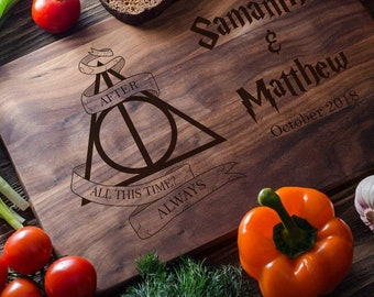 Harry Potter Personalized cutting board Personalized Custom cutting board Wedding Bridal shower Deathly Hallows Harry Potter Always harry01