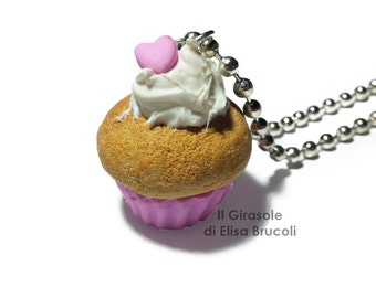 Cupcake long Necklace with little heart, Polymer clay handmade cute kawaii Food Jewelry, Miniature Food, Cupcake Jewelry, Kawaii Jewelry