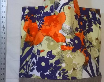 Purple/ Orange Floral Tote with Taupe Upholstery Bottom