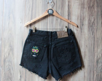 High waist black vintage denim shorts Size 8 | Ripped distressed shorts | Embroidered denim | Hipster shorts | Unique festival shorts
