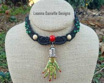 Zombie Hand Necklace Black Green Handmade Micromacrame Macrame TWD Zombies Adjustable Necklace