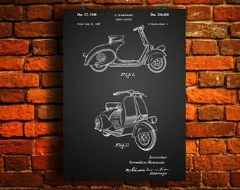 Vespa Scooter Patent Poster, Scooter Art, Scooter Decor, Vespa Motor, Scooter Motorbike Wallart, Motorbike Blueprint, Garage decor, Wallart