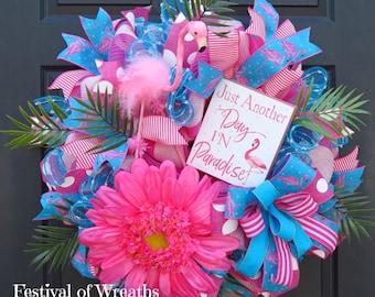 Summer Wreath Front Door - Tropical Mesh Wreath - Summer Tropical Door Wreath - Deco Mesh Wreath - Mesh Wreath - Flamingo Wreath - Tropical