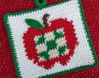 Patchwork Apple Potholder Crochet PATTERN - INSTANT DOWNLOAD