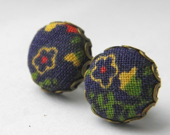 Navy and Gold - Fabric Covered Button Stud Earrings.