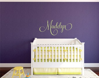 Name Wall Decal Etsy - Monogram vinyl wall decals for boys