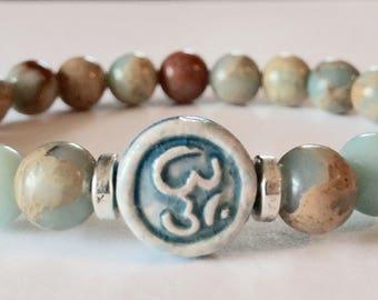 Yoga Bracelet, Om Bracelet, Aqua Terra Jasper Bracelet, Gemstone Bracelet, Beaded Bracelet, Ohm Bracelet, Bracelets for Women, Yoga, Jewelry
