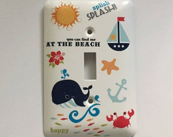 Find Me At The Beach Light Switch Cover, Baby Gift, Nursery, Nautical, Childs Room, Whale, Sailboat, Sun, Crab, Starfish