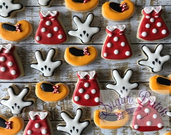 2 Dozen Mini Minnie Mouse Outfit Decorated Cookies Set